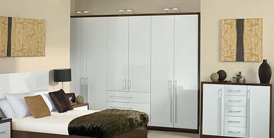 high gloss white bedroom